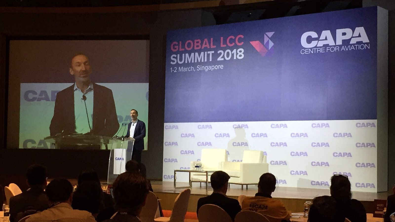 Gareth Evans speaking CAPA Global LCC Summit 2018 in Singapore