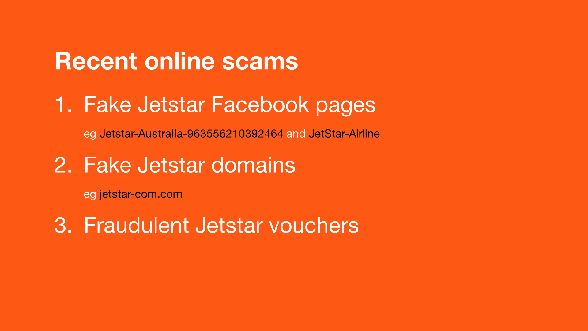 Keeping you informed about online scams