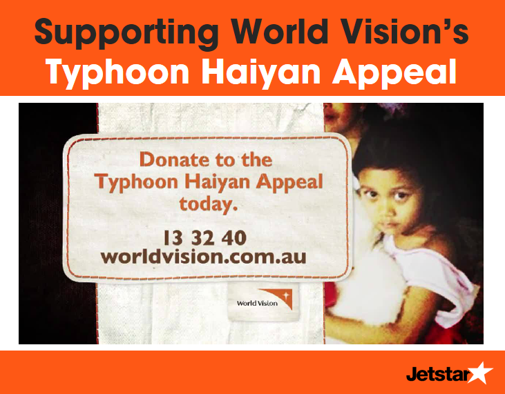 Supporting World Vision's Typhoon Haiyan Appeal