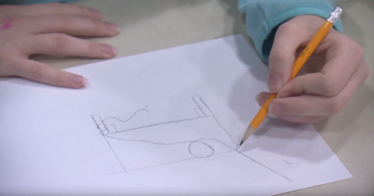 A student plans a roller coaster as part of MPC's Engineering Adventures program