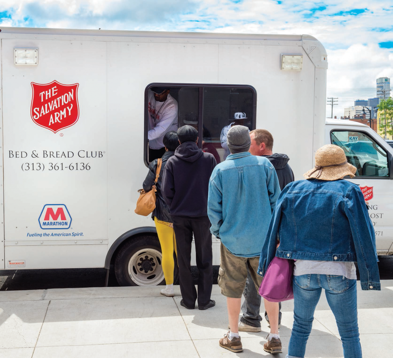 The Salvation Army's Bed & Bread Club truck, fueled by MPC, provides meals to Detroit residents in need.