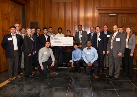 MPC leaders are joined by LSU representatives and Summer Scholar participants during a reception where MPC provided financial support to fund students majoring in engineering and construction management in LSU University College's Summer Scholars program.