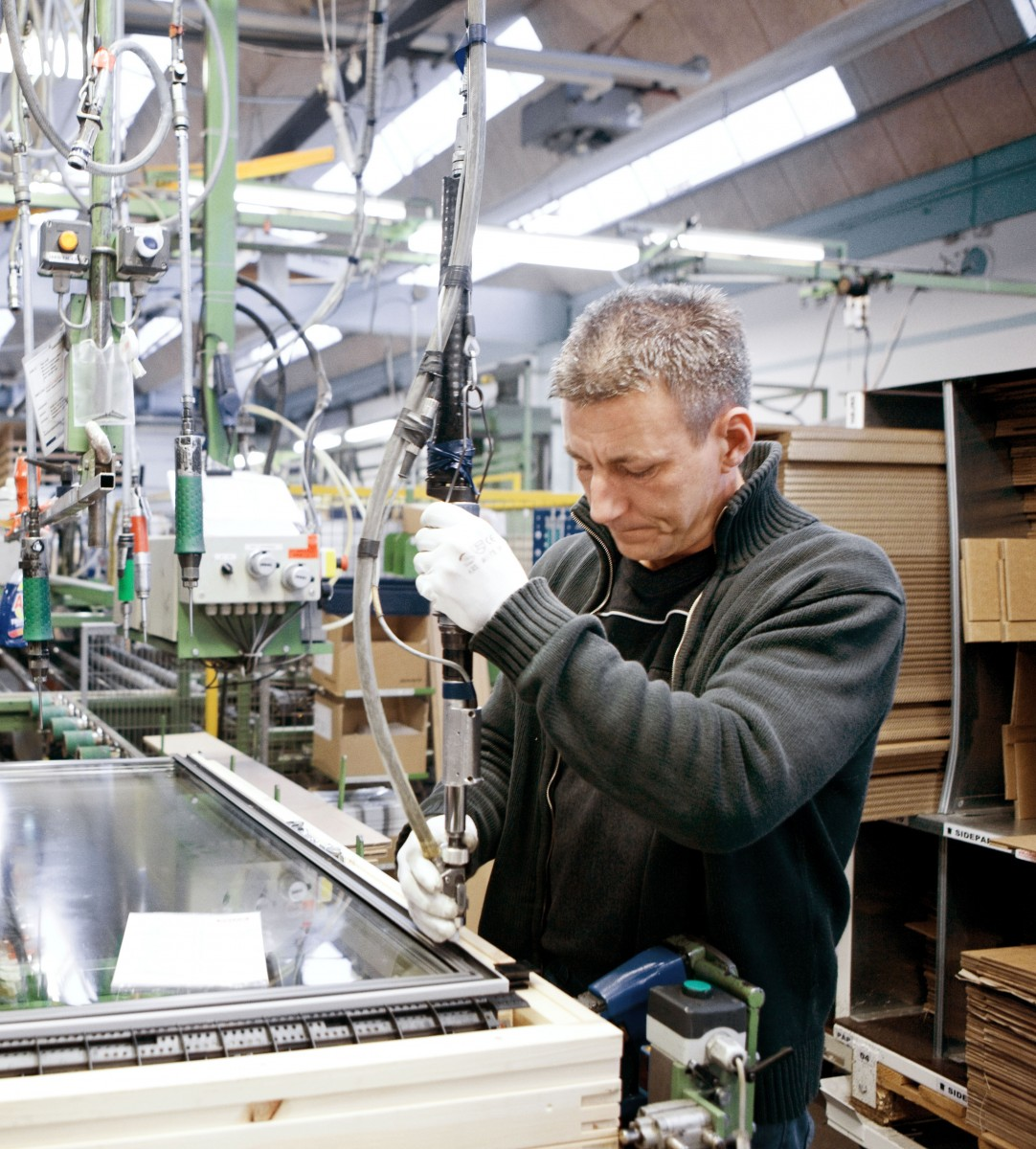 VELUX Employee At Production Line