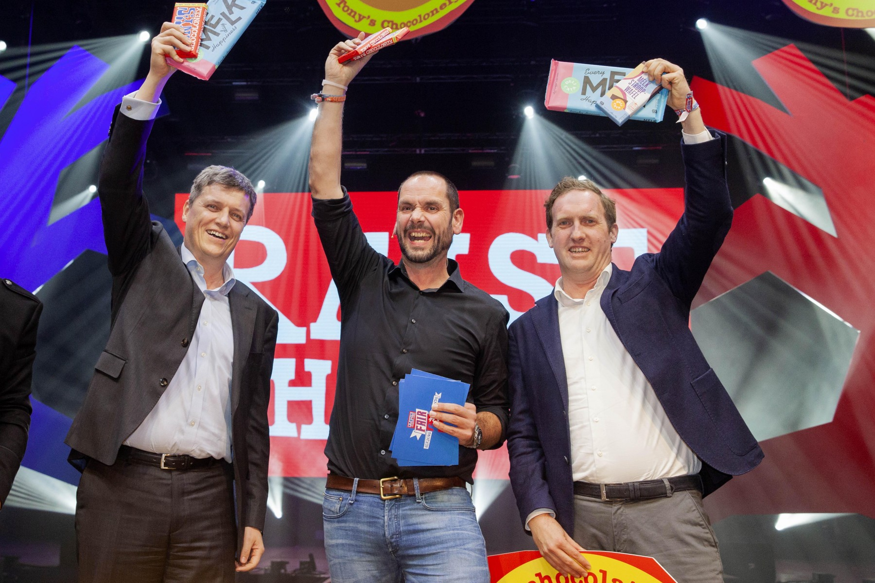 Barry Callebaut, Henk Jan Beltman, Chief Chocolate Officer Tony's Chocolonely en Henk van Harn, Vice President Houdbaar & Non Food AH