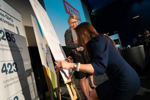 Anna Dudzińska, dyrektor personalna w firmie VELUX podpisuje Kartę Różnorodności