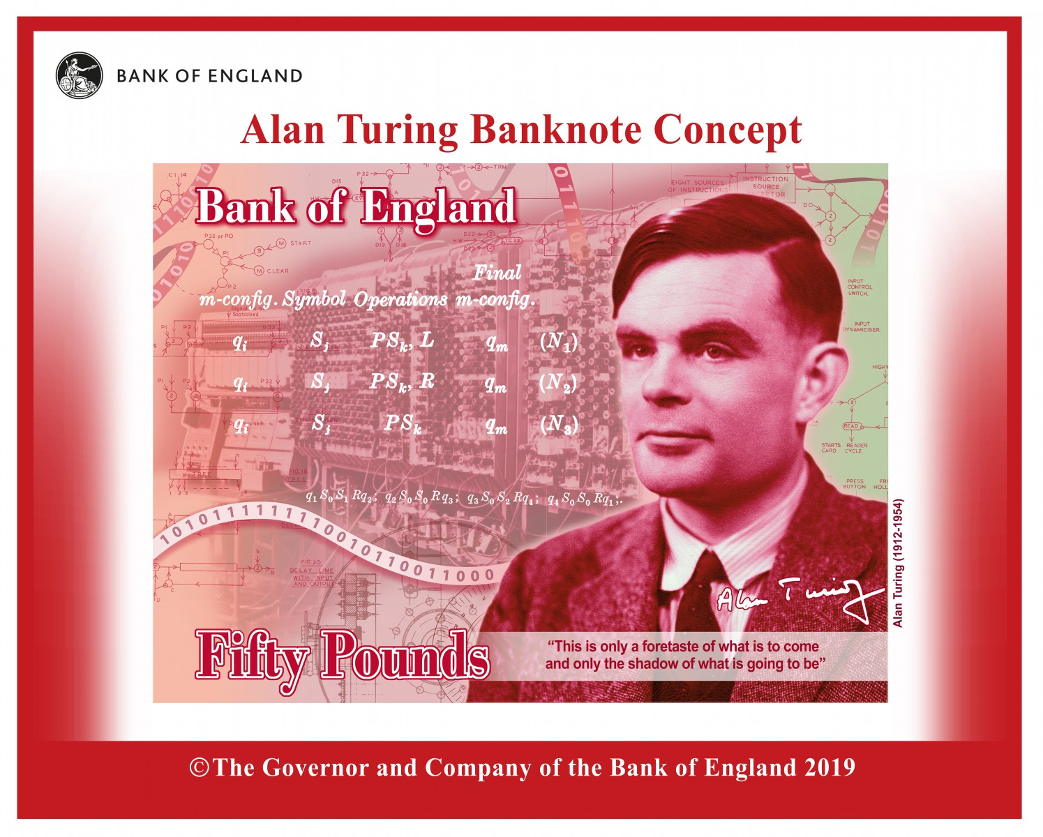 Concept image of Alan Turing on new £50 note