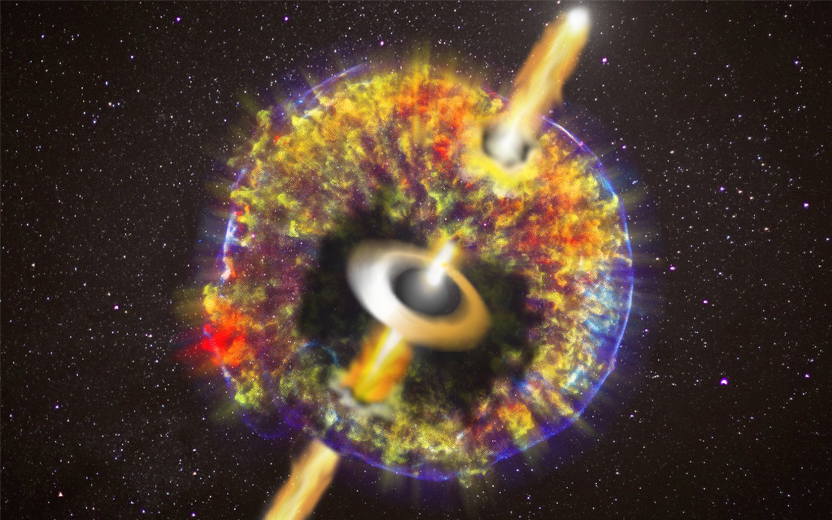 Artist's impression of the merger of two neutron stars with all the material expelled into space and the observed jet after breaking through the shell.