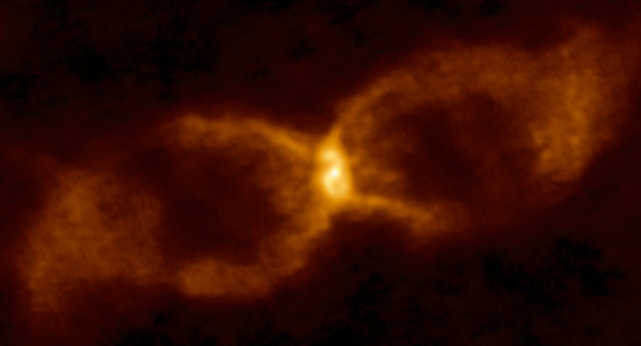 The hourglass-shaped remnant named CK Vulpeculae.
