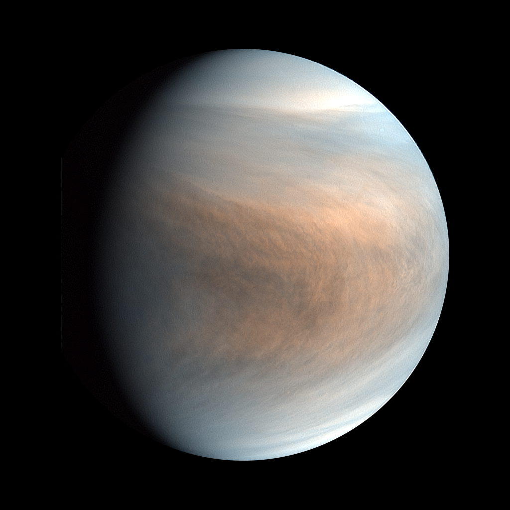 Synthesized false colour image of Venus, using 283-nm and 365-nm band images taken by the Venus Ultraviolet Imager (UVI). JAXA / ISAS / Akatsuki Project Team