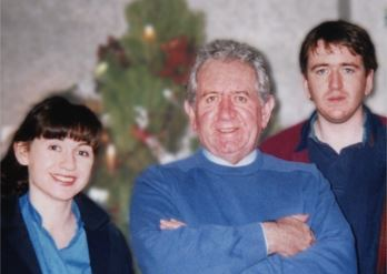 Gen Buckley with father, Mike, & brother, Phil Hynes.  Xmas mid 1990s (Jpeg)