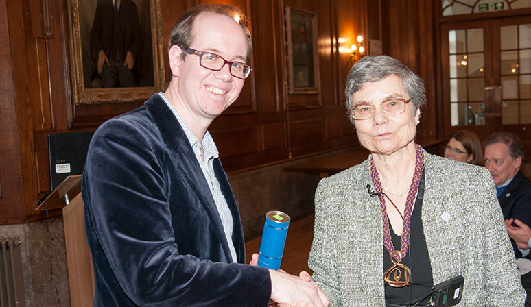 Prof Will Parnell collects LMS Prize