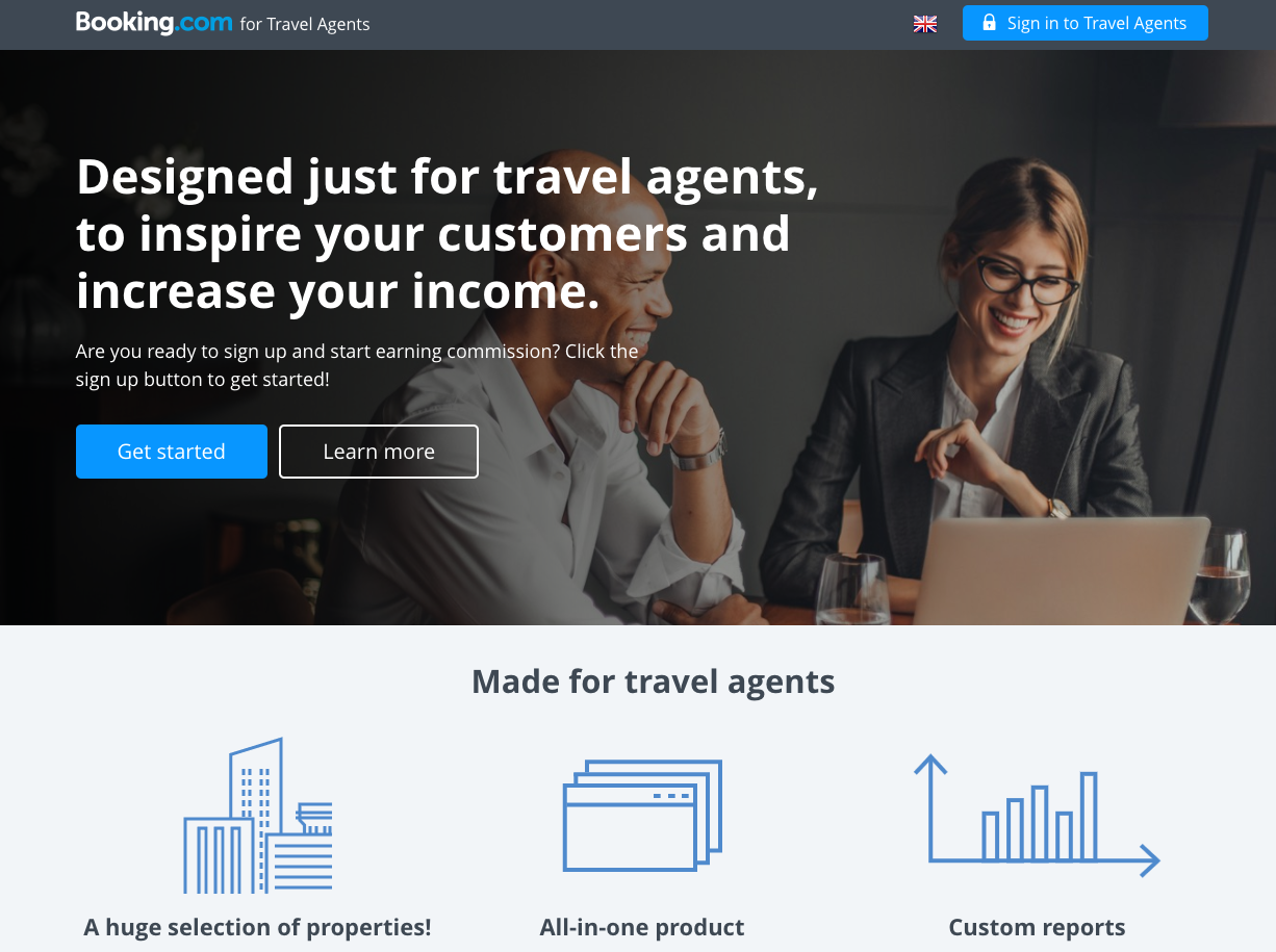 Booking.com for Travel Agents Landing Page