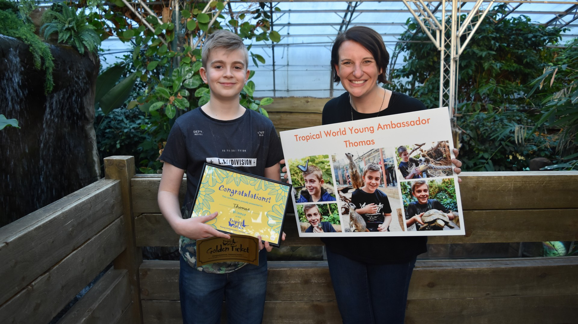 New Tropical World Young Ambassador Thomas Paddy with Cllr Lucinda Yeadon
