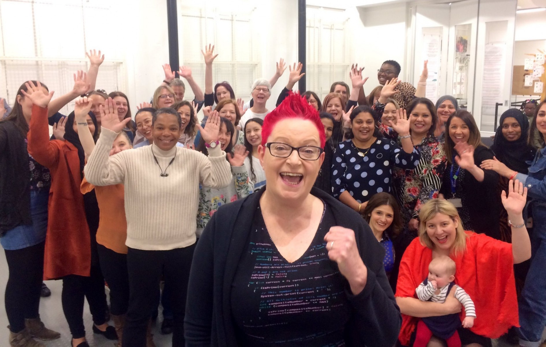 Leeds #techmums pictured with #techmums founder Dr Sue Black (front centre).