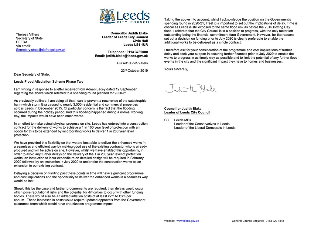 Letter to Sec of State re: Flood Alleviation Scheme Phase 2 funding