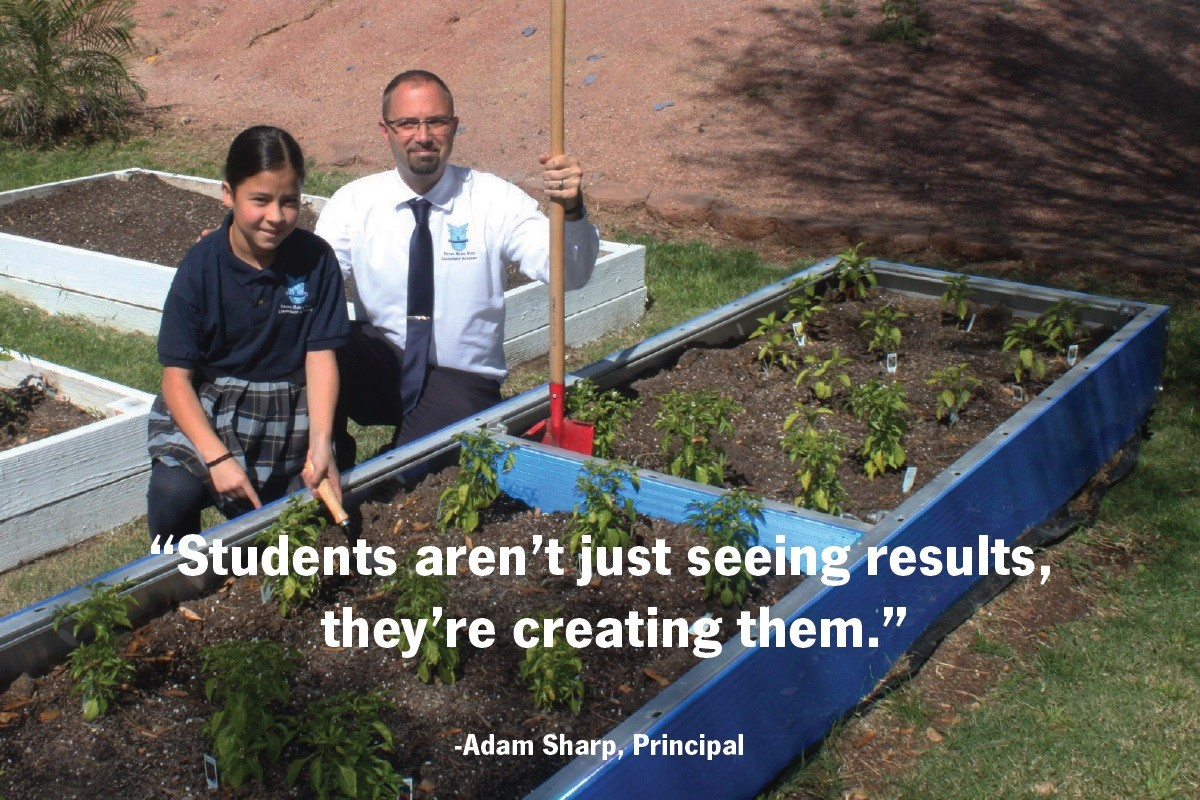 A garden grows on the grounds of Reyes Maria Ruiz Leadership Academy in Phoenix, Arizona.