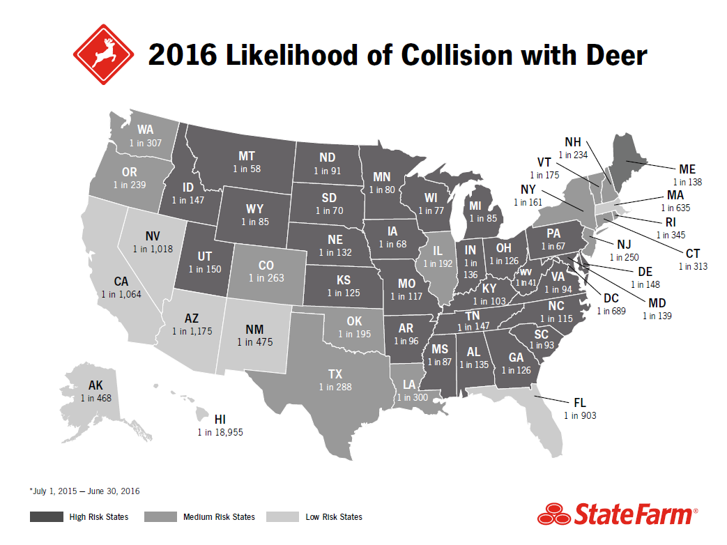 Deer Collision Data - Venison in us map