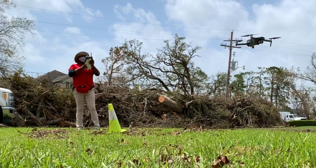 Claims Specialist Joy Hillsman-Caffie uses a drone to survey Hurricane Laura damage.