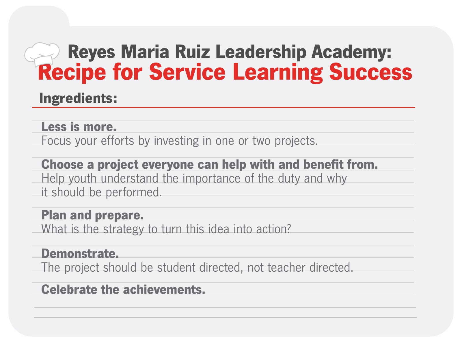 Recipe for leadership success