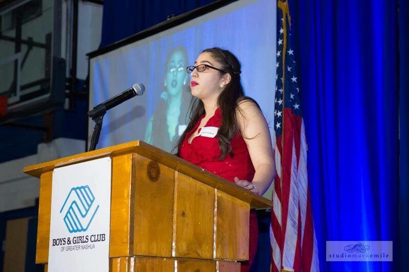 Jhanise Cardona thanks the audience at the Boys and Girls Club of Greater Nashua dinner after being named Youth of the Year.