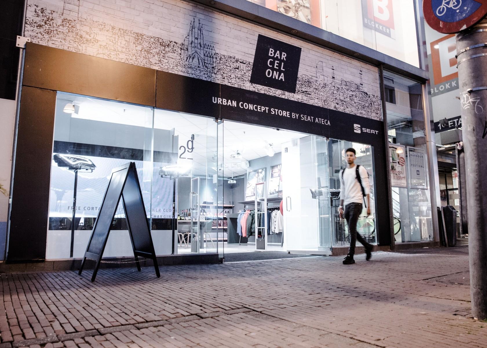 barcelona in utrecht urban concept store by seat ateca. Black Bedroom Furniture Sets. Home Design Ideas