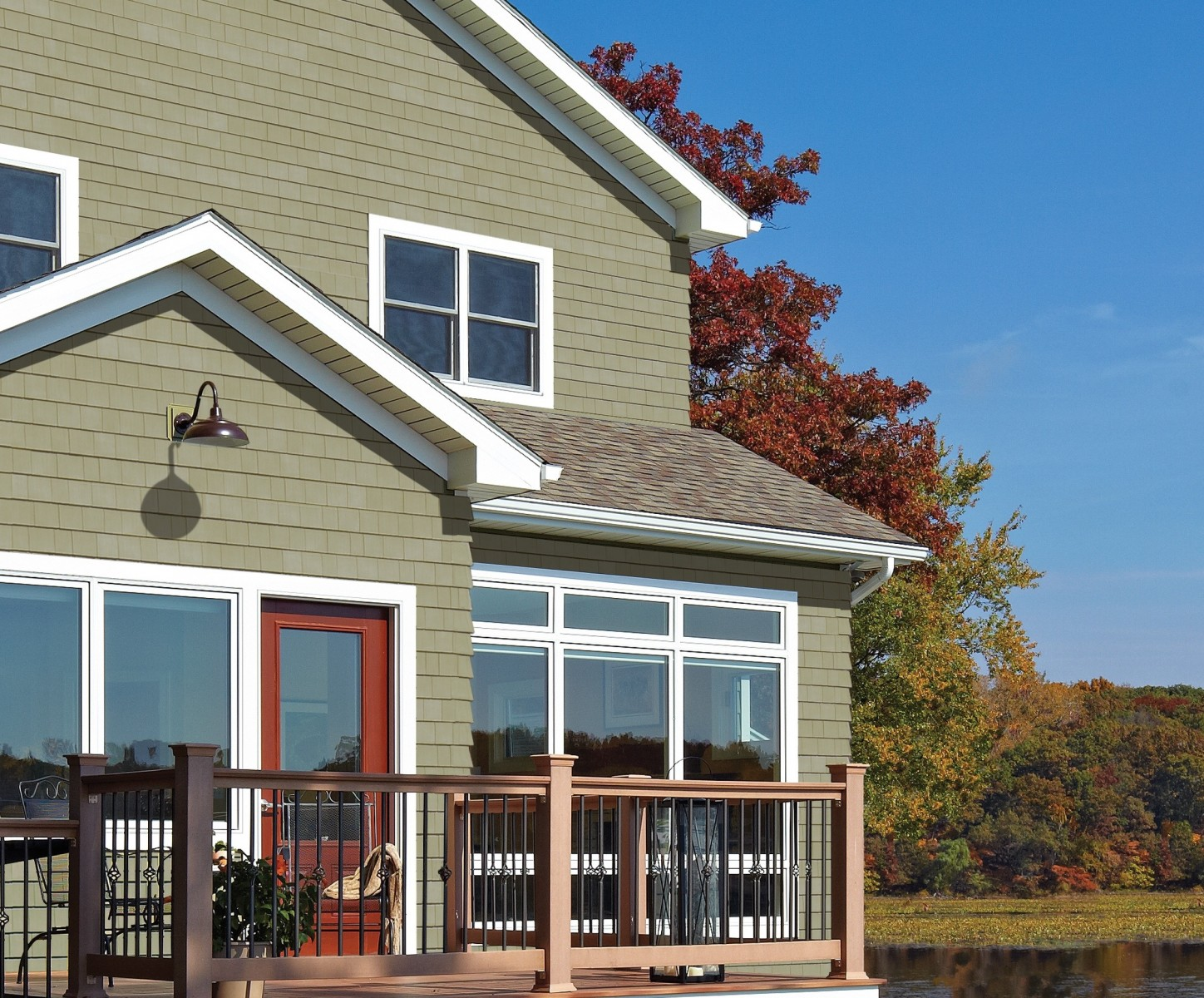 The authentic texture of freshly sawn wood distinguishes for Cypress color vinyl siding