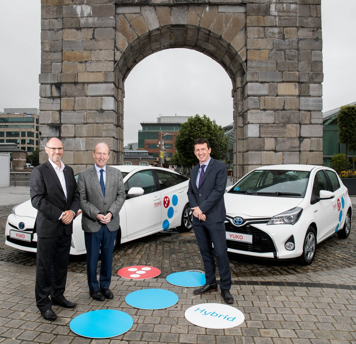 YUKÕ Ireland. From left to right: Mark Adams, Vice President Consumer One & New Mobility, Toyota Motor Europe/ Irish Minster for Transport, Shane Ross Steve Tormey / CEO Toyota Ireland