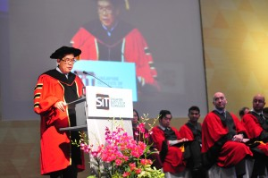 Prof Tan Thiam Soon, President SIT addressing graduands and guest at the SIT Graduation Ceremony 2014 (16 May 2014). Photo | SIT
