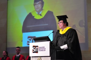 Bryan Yeo, valedictorian for class of 2014, DigiPen Institute of Technology, making his speech at the SIT Graduation Ceremony 2014 (16 May 2014). Photo | SIT