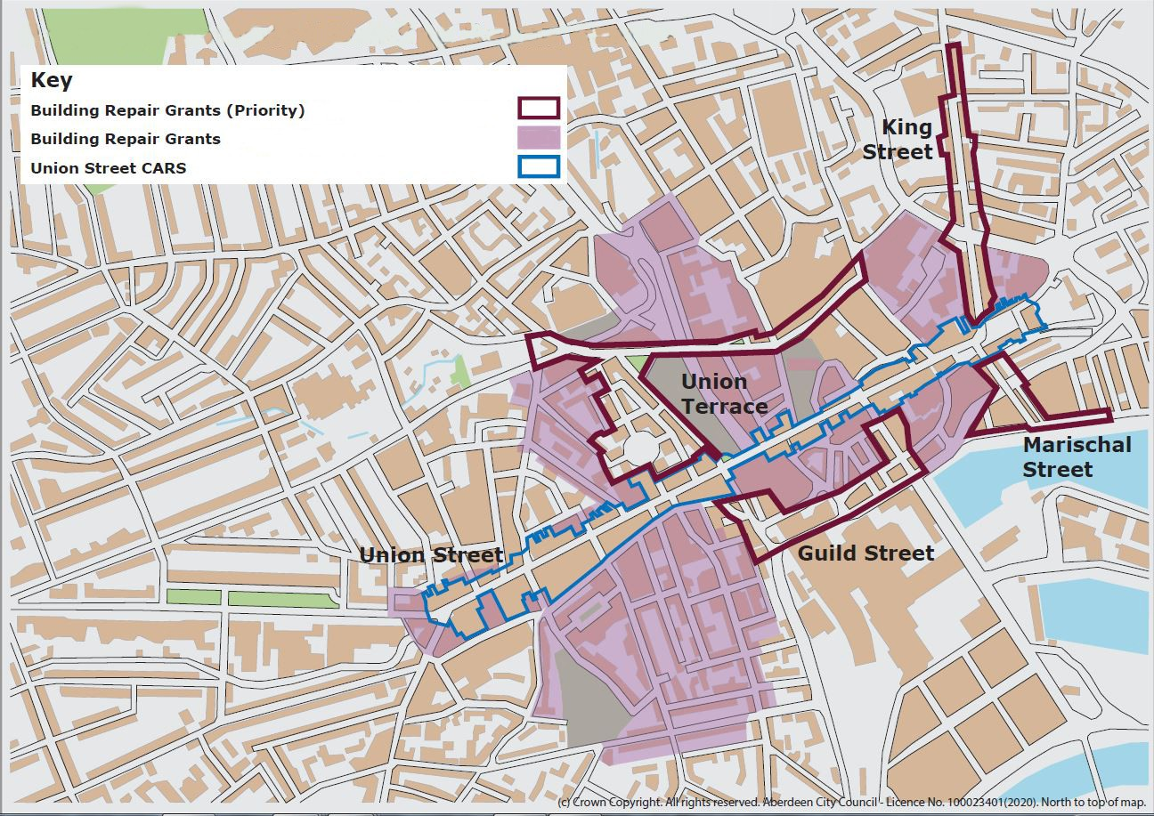 Aberdeen City Heritage Trust - map  building repair grants - 13 May 2020