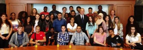 Studenten Albeda Startcollege op bezoek bij burgemeester Aboutaleb