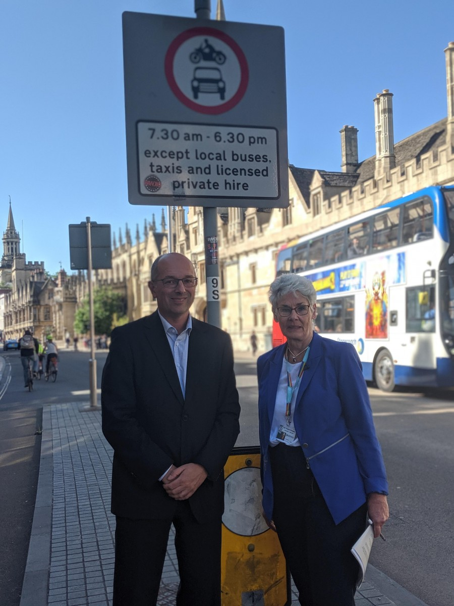 Traffic congestion management photo - Councillors Alex Hollingsworth and Yvonne Constance