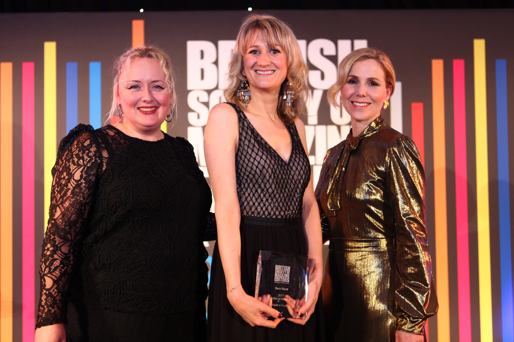 (L-R) BSME chair Catherine Westwood, Editor of Slimming World magazine Sara Ward, and actress Sally Phillips, who presented the award