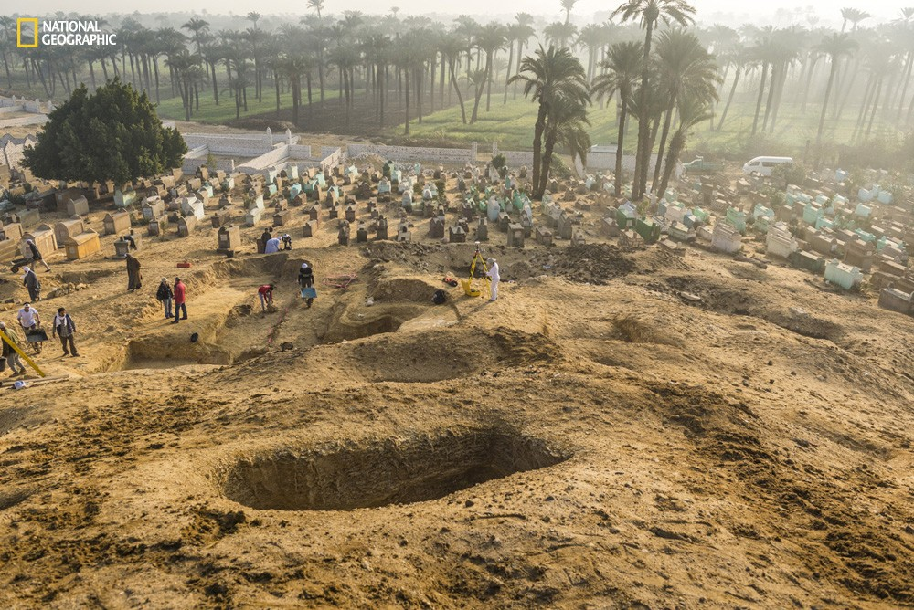 Close-up of looted tombs near the Middle Kingdom site of El Lisht in Egypt.