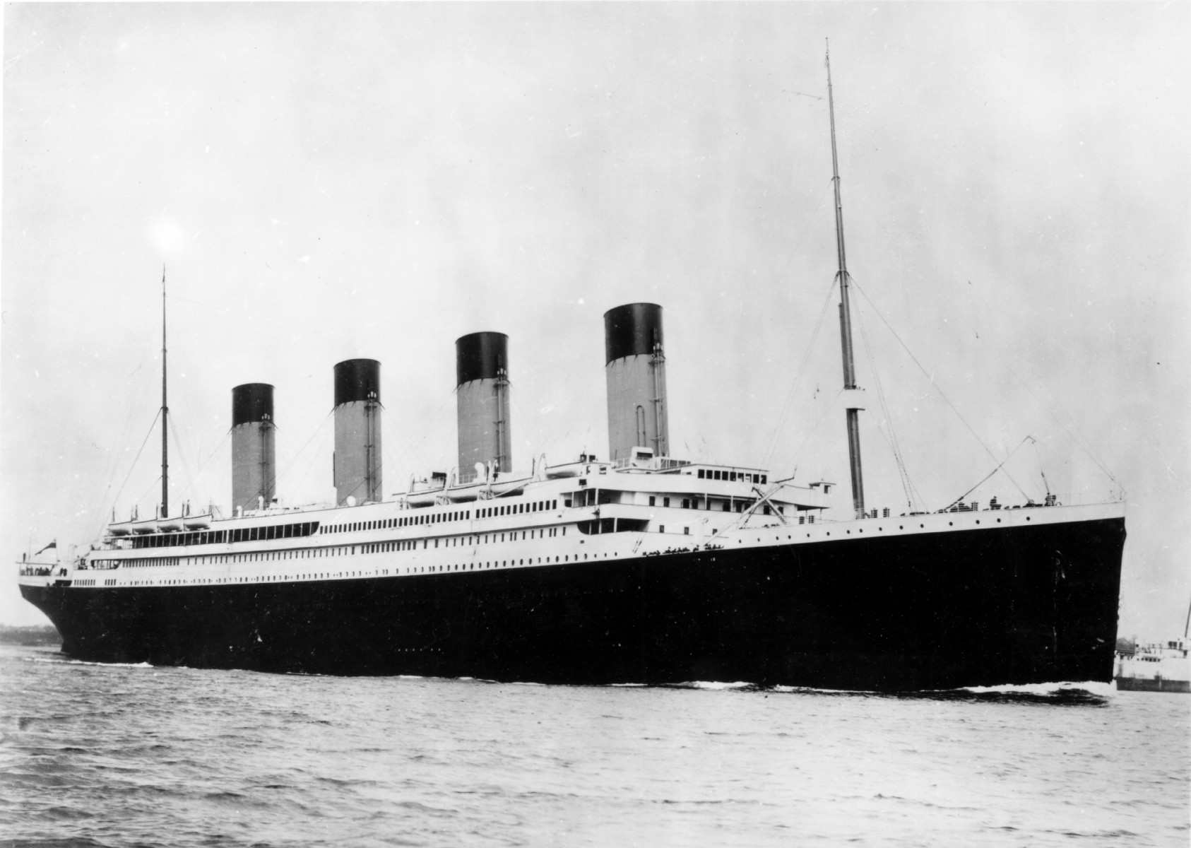 The R.M.S. Titanic departed from Southampton, England, for the first and only time on April 10th, 1912. The Titanic had nine decks with separate areas for first-class, second-class, and third-class passengers. There were close to 2,200 people aboard for the ship's maiden voyage.