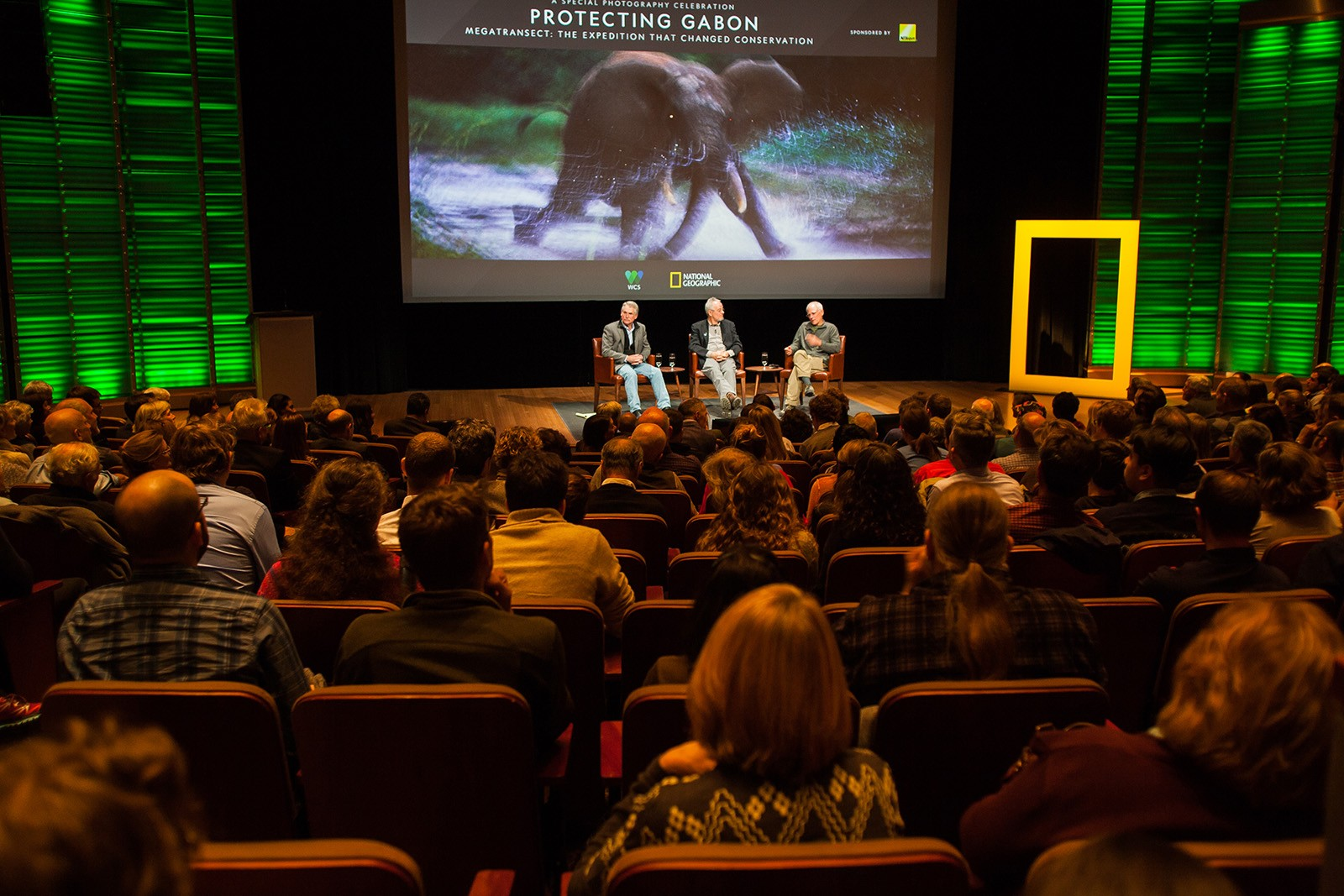 "David Quammen, Michael ""Nick"" Nichols and Mike Fay at Protecting Gabon: The Expedition that Changed Conservation."