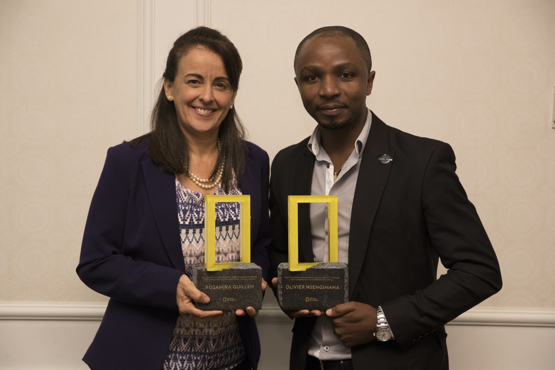 2017 National Geographic/Buffett Award for Leadership in Conservation Award Honors Conservationists Rosamira Guillen (left) and Dr. Olivier Nsengimana (right)