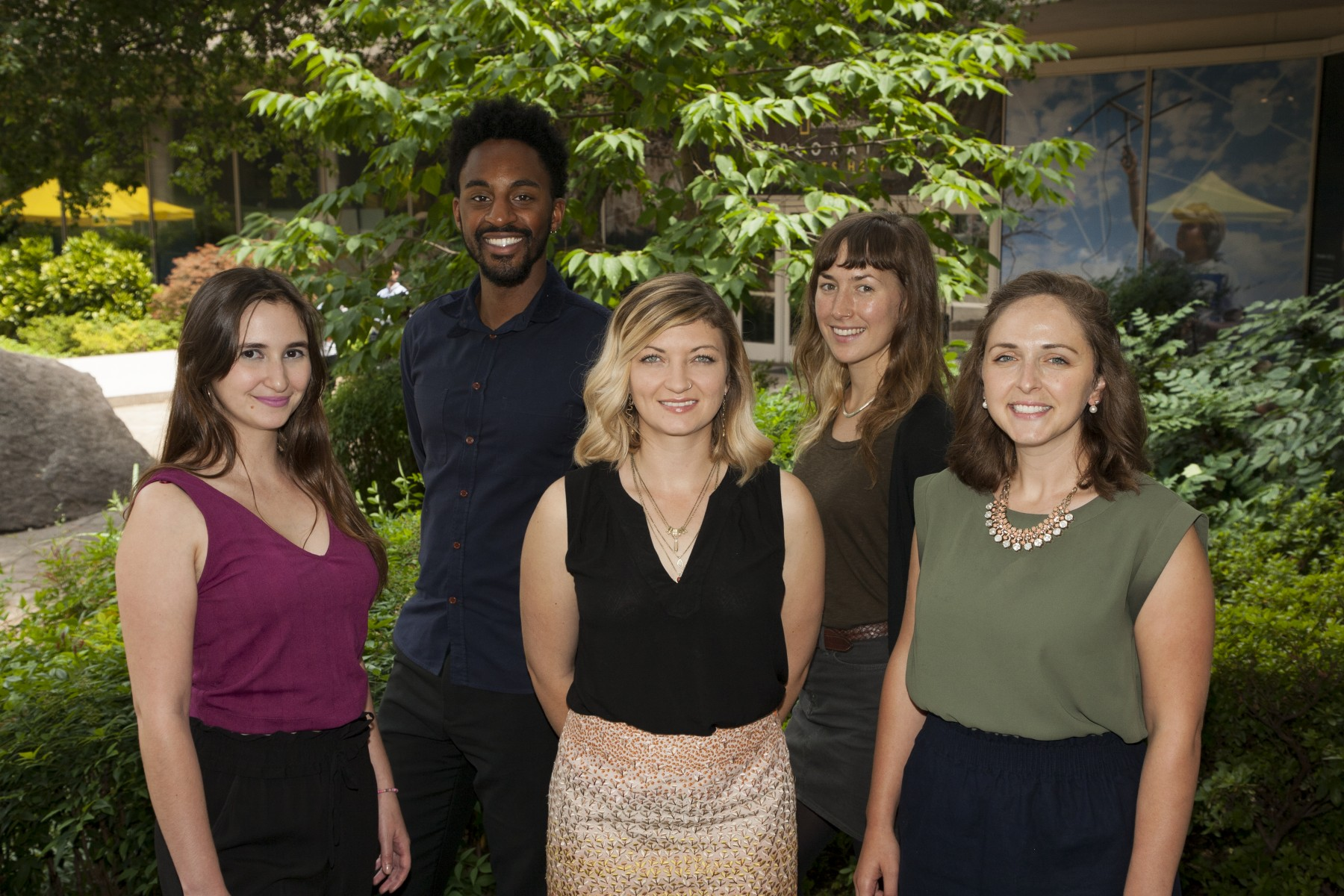 2018-19 Fulbright-National Geographic Digital Storytelling Fellows - Front (L  to R) Jennifer Gil, Jen Guyton, Emily Toner; Back (L to R) William Tyner, Katie Thornton
