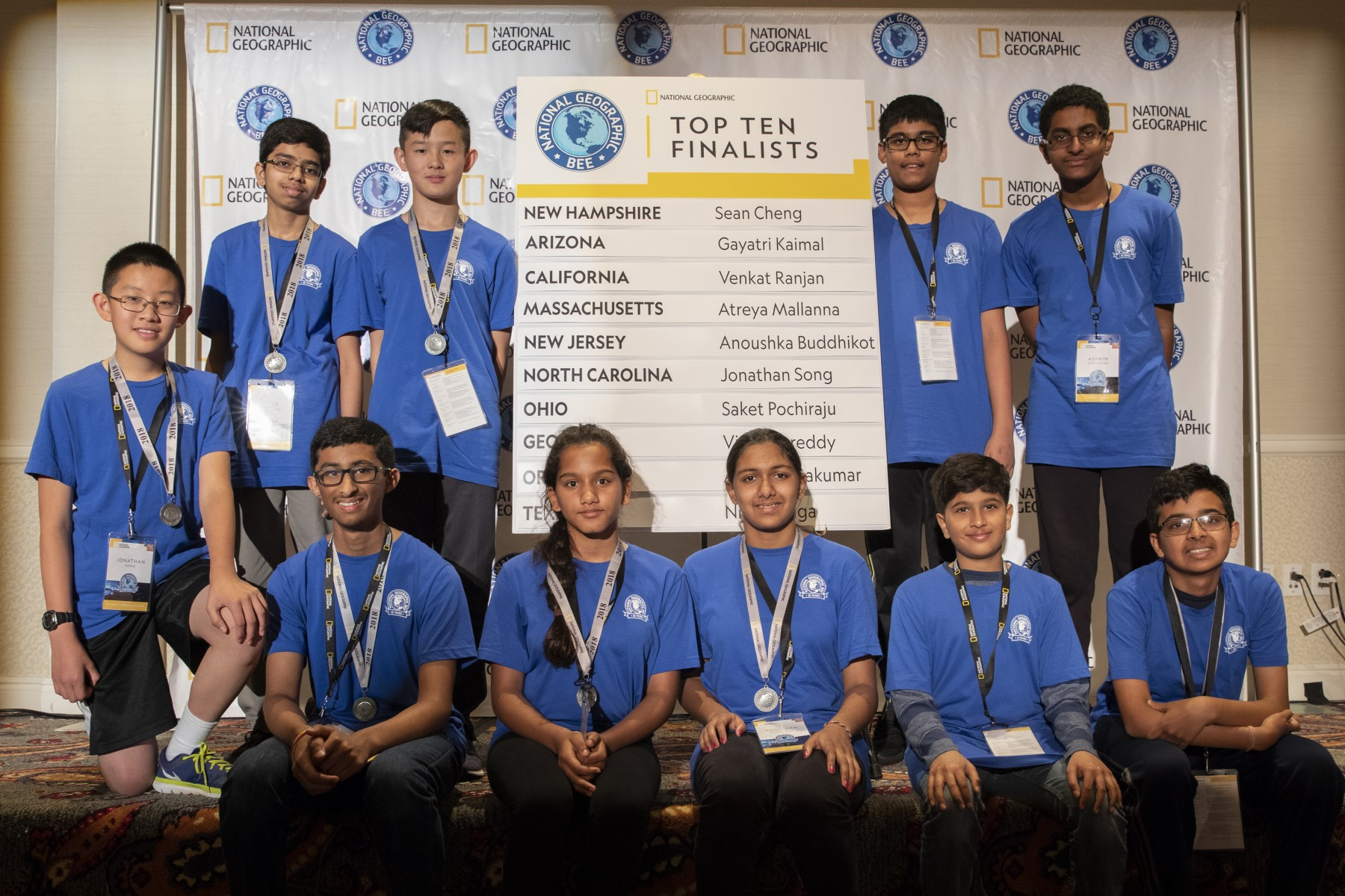 These top 10 finishers who competed in today's preliminary round of the 2018 National Geographic Bee held in Washington, D.C., will take part in the final round of the competition on Wednesday, May 23. They are (top row, left to right), Jonathan Song of North Carolina, Saket Pochiraju of Ohio, Sean Cheng of New Hampshire, Nihar Janga of Texas and Ashwin Sivakumar of Oregon (bottom row, left to right) Vishal Sareddy of Georgia, Gayatri Kaimal of Arizona, Anoushka Buddhikot of New Jersey, Atreya Mallanna of Massachusetts and Venkat Ranjan of California.