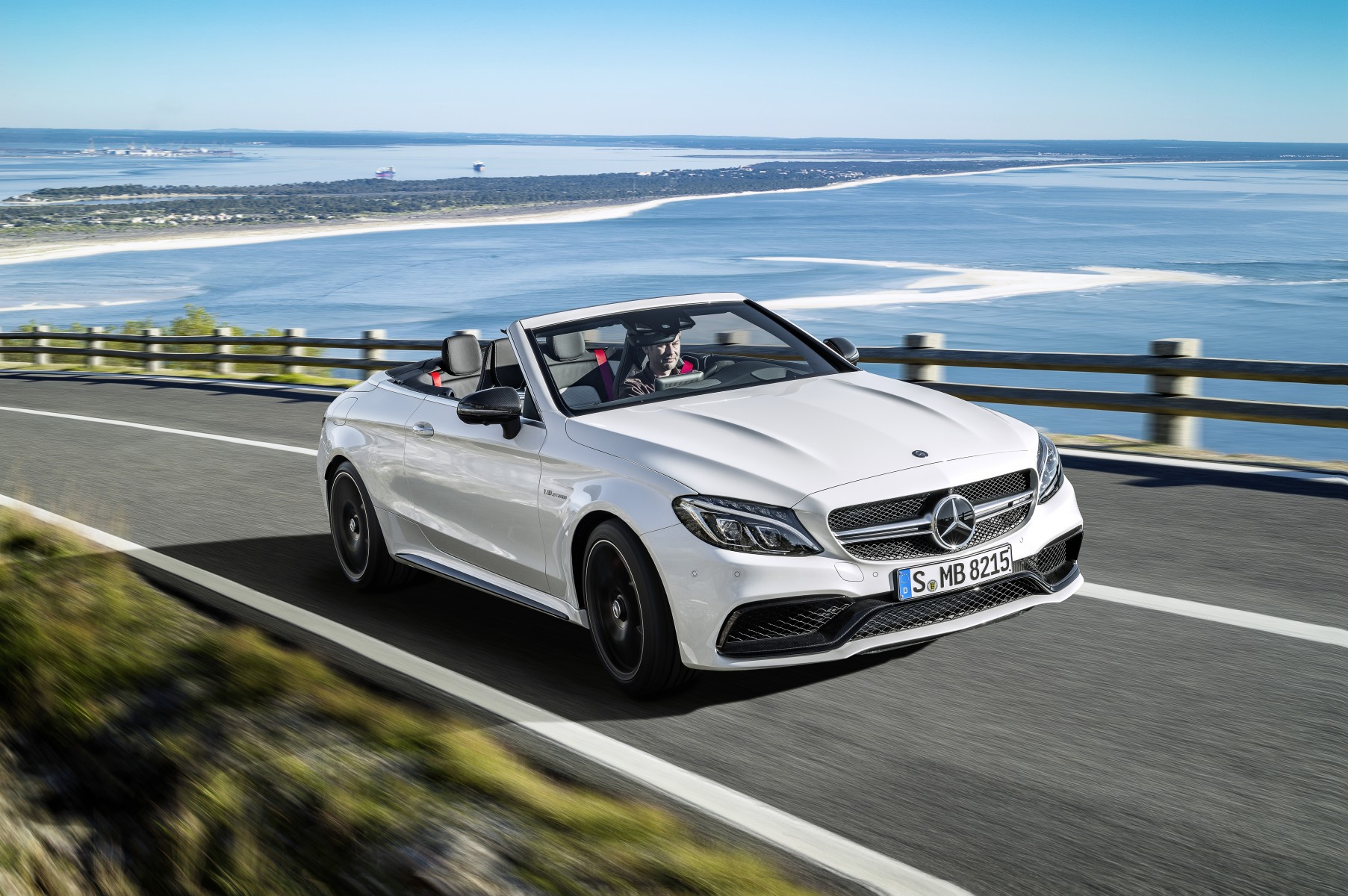 Mercedes-AMG C 63 S Cabriolet (A205) 2016; exterior: designo diamond white bright; interior: AMG nappa leather platinium white pearl/black; Fuel consumption, combined (l/100 km): 8.9; CO2 emissions, combined (g/km): 208