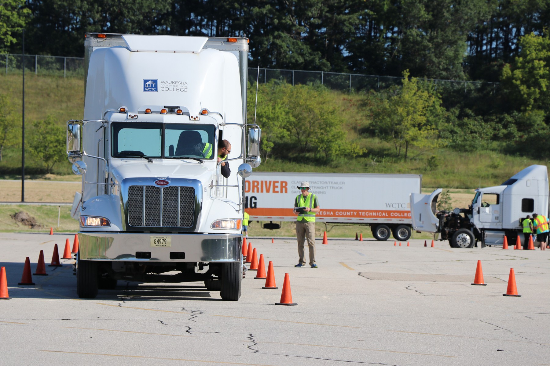 WCTC truck driving students practice their skills recently at the college's training course.