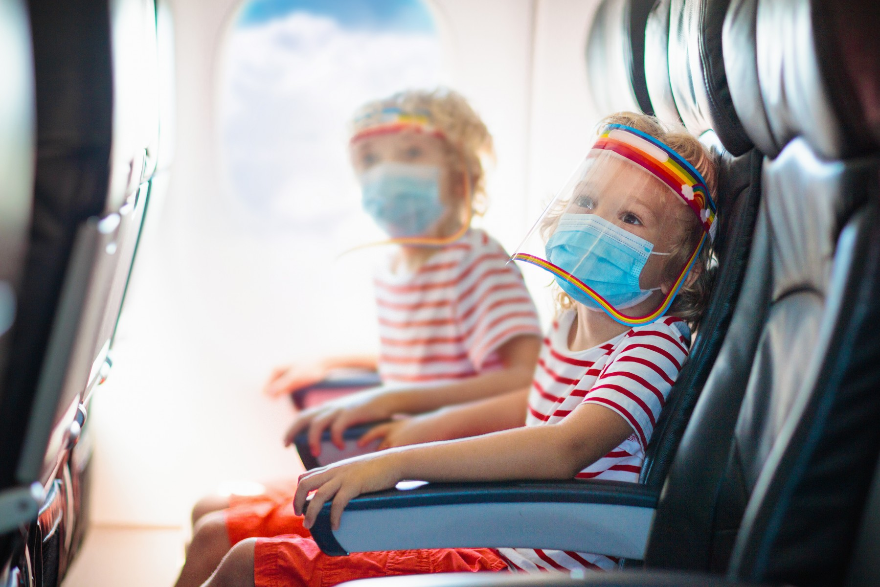 Kids on airplane with face shields