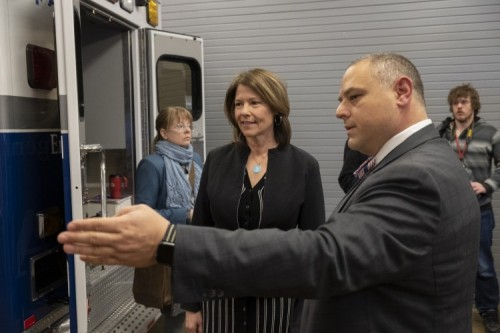 Rep. Bustos Visits OSF's Rapid Response Center for COVID-19