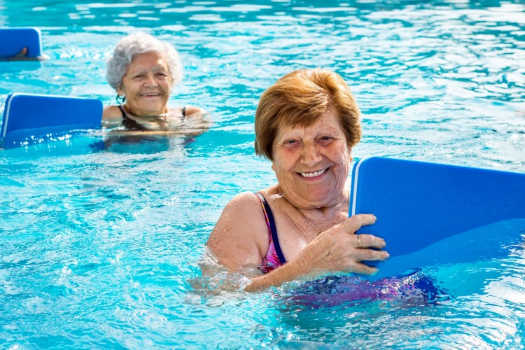 adults swimming