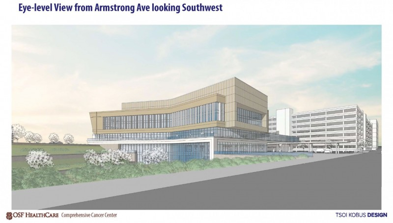 Cancer Center Prelim Rendering from E Armstrong to SW