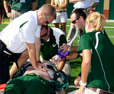 Athlete getting CPR