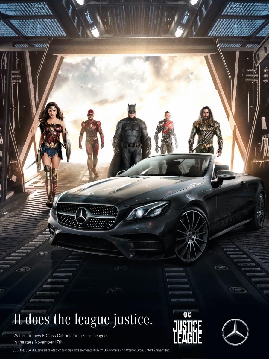 mercedes-benz et les aventures des super-héros de justice league