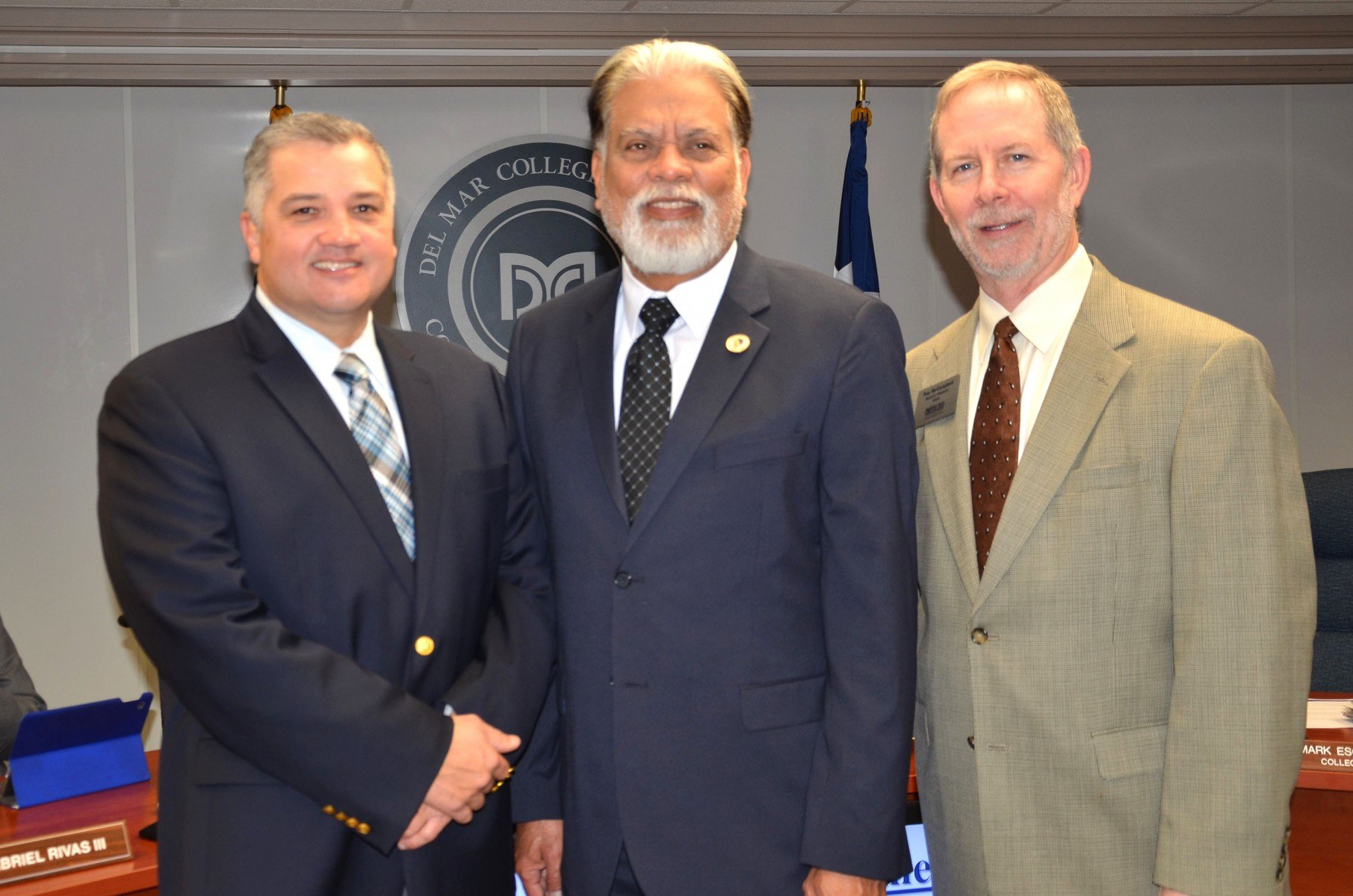 BOR Recognition February 2018_DMC President Mark Escamilla (left)_Regent Dr. Nick Adame_Board Chair Trey McCampbell 021318