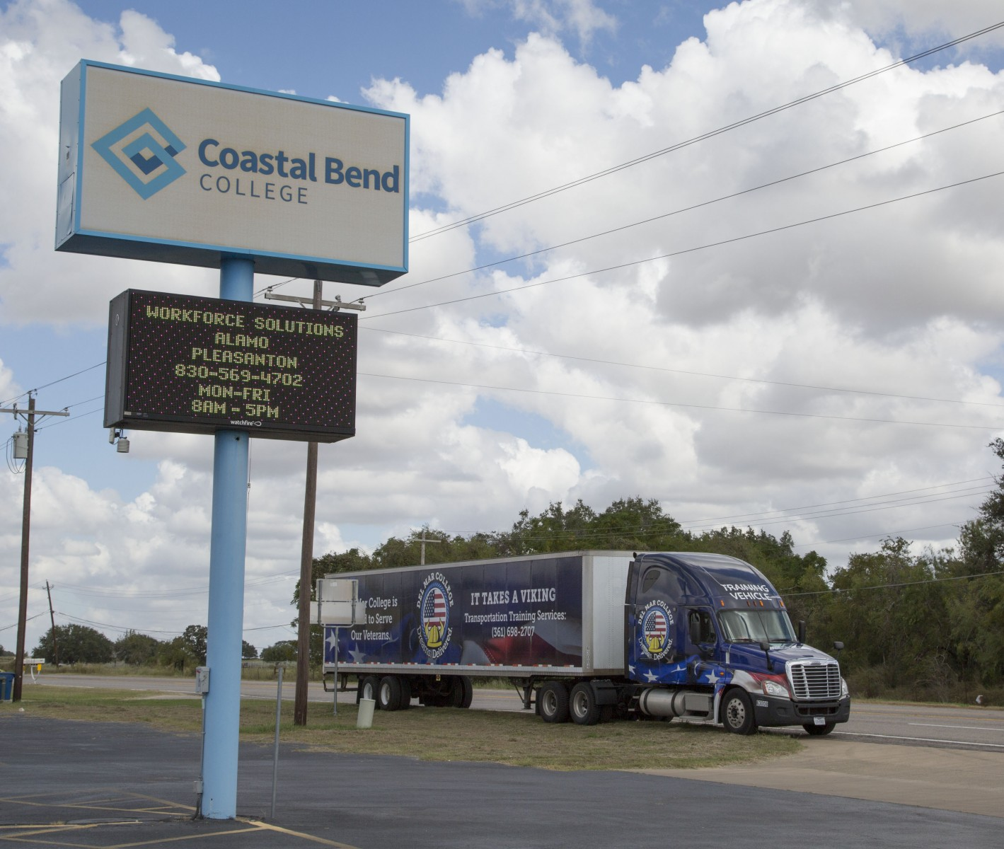 Coastal Bend College Pleasanton Campus Sign and Del Mar College Tractor-Trailer Training Rig.jpg