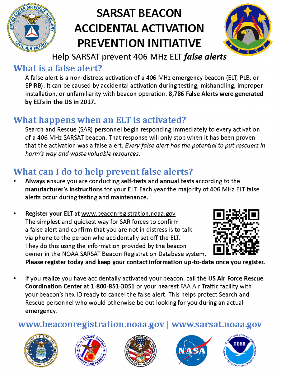 2018_False Alert Flyer_SBAAP_SARSAT_Beacon_Accidental_Activation_Prevention_Initiative